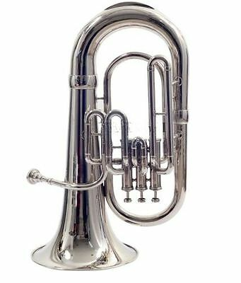 "New Euphonium-Bb""valve_Chrome""finish-W_Case-Mp-Awesome^sound-Tuba-Sousaphone-Bra"