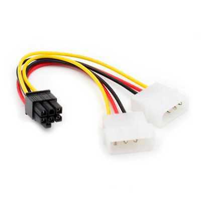 LP4 Molex to 6 Pin PCI Express (PCIe) Graphics Card Power Cable Lead corriente