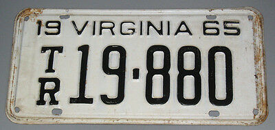 1965 Virginia License Plate TR19-880