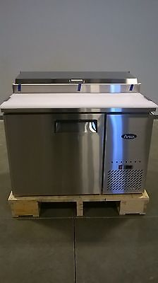 "New 44"" Refrigerated Pizza Prep Table 1 Door 6 Pans 19.5"" Deep Board & Casters"
