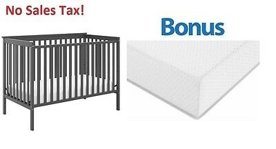 Convertible Baby Crib 4-in-1 With Bonus Premium Mattress Sheffield II Kid Bed