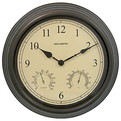 """Indoor & Outdoor Copper Wall Clock Hygrometer & Thermometer-15"""" COPPER THERMOM/C"""