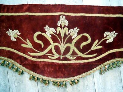 Antique French  Valance 19Th-Century  Silk Velvet Embroidery