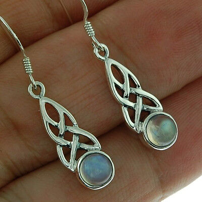 Celtic Knot Stone Sterling Silver Earrings, w Rainbow Moonstone, Solid Silver.