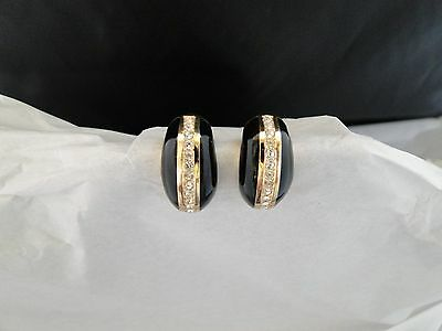 Vintage Signed Christian Dior Pave Rhinestone Black Enamel Pierced Earrings