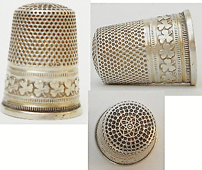 Superb Antique  Sewing Silver Three Leaf Clover Pattern Thimble