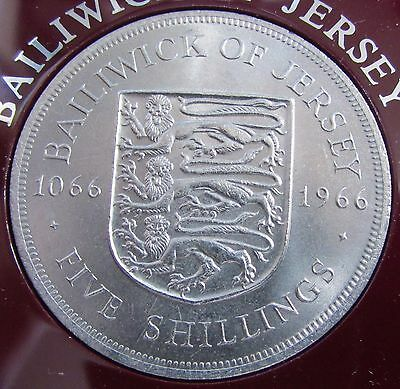 1966 Boxed Bailiwick of Jersey Channel Island 1066-1966 5 Shilling Crown Coin