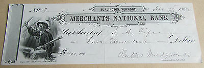 1884 Merchants National Bank Vermont USA $400 Cashed Cheque Great Bank Stamps
