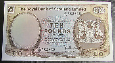 1977 The Royal Bank of Scotland Limited £10.00 Banknote Serial Number A10