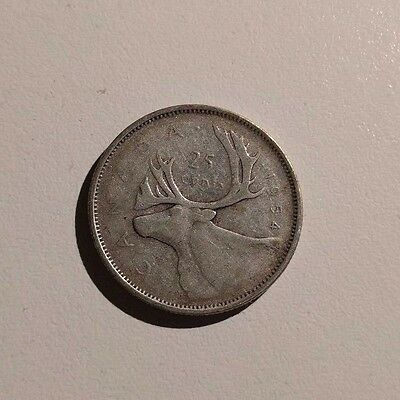 KEY DATE!!! 1954 Silver Canadian Quarter Canada 25 Cent 25c Circulated