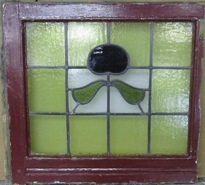 """MID SIZED OLD ENGLISH LEADED STAINED GLASS WINDOW Intriguing Floral 23"""" x 22"""""""