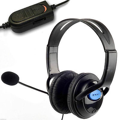 Deluxe Pro PC PS4 Headset Wired Padded Headphones Microphone Mic Volume Control