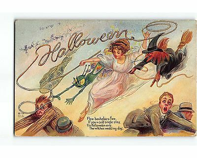 ST902c HALLOWEEN WITCHES WEDDING DAY Nice Nash H-12 EMB CHROMOLITH 1912 Postcard