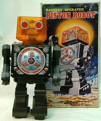 Horikawa Toy 1970 Action TIN Toy Battery Operated Piston Robot from JAPAN F/S