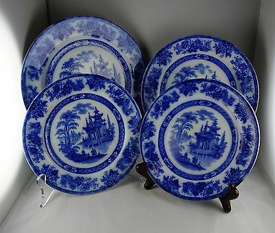 Royal Doulton Burslem Madras Flow Blue Antique Four Plate Dealer Lot