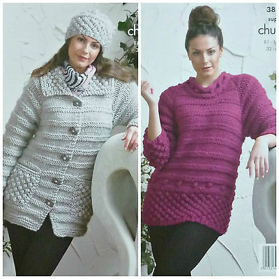 KNITTING PATTERN Ladies Coat Hat and Long Top Super Chunky King Cole 3816
