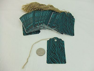 "500 Large Scalloped Zebra Turquoise String Tags Price Tag Gift Tag 2"" x 3 1/4"""