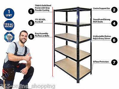 Garage Shelving Storeroom Stockroom Shelves Storage Unit 175kg UDL 5 Tier 1.5m