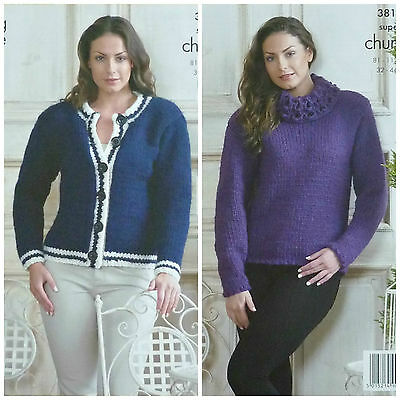 KNITTING PATTERN Ladies Easy Knit Cardigan & Jumper Super Chunky KC 3817