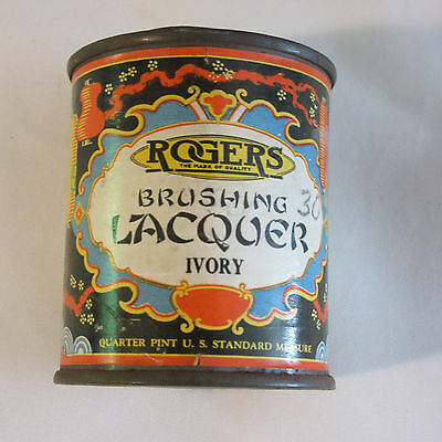 Vintage 1920's Rogers Brushing Lacquer Quarter Pint Can Ivory