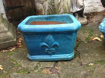 Old Annamese Ceramic Glazed Blue Green Planters