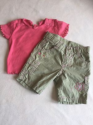Baby Girls Clothes 0-3 Months - Pretty Outfit -  T Shirt Top  & Shorts