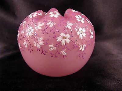 Antique Mt. Washington Cranberry Satin Glass Rose Bowl Enameled Flowers Exc Cond