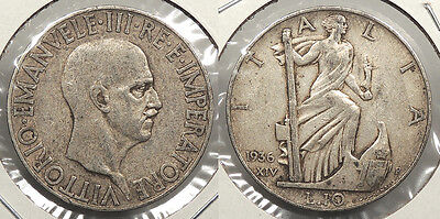 ITALY: 1936-R 10 Lire #WC71948