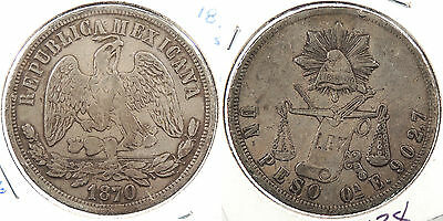 MEXICO: 1870-Oa E Peso Small A #WC60938
