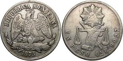 MEXICO: 1873-Oa E 1 Peso #WC70180