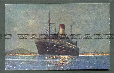 1923-4 Coloured Pc Hamburg Sud Amerika Linie Ship Off Of Montivideo