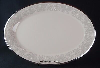 Lenox Fine China Platinum Trim Snow Lily Oval Serving Platter Plate 16-3/8""