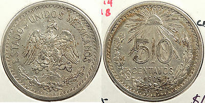 MEXICO: 1906 50 Centavos Closed 9 #WC63496