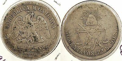 MEXICO: Zacatecas 1879-Zs S 50 Centavos Flat-top 7 #WC63396
