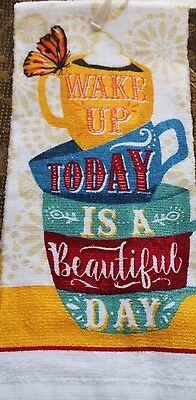 COTTON COFFEE STACKED CUPS KITCHEN DISH TOWEL Wake Up Today is a Beautiful Day