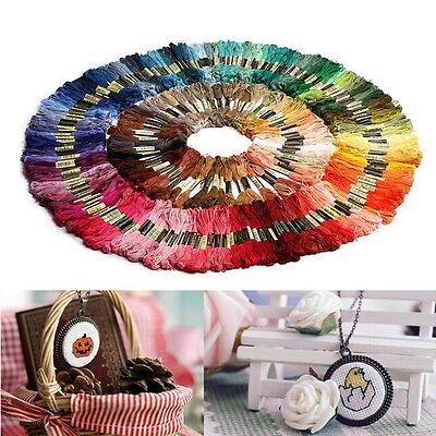 250x Mix Color Cross Stitch Cotton Thread Floss for Sewing Skeins Embroidery UK