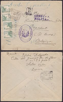 Spain 1938 - Used stamps on REGISTERED Civil War Censored mail to Belgium...S253