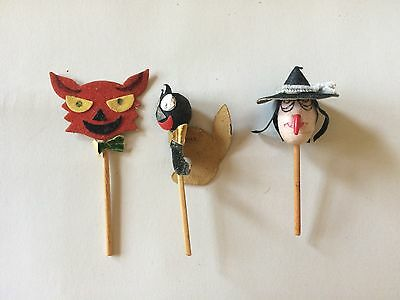 Halloween Cake Toppers Witch Black Cat Red Cat Vintage 1950s Japan