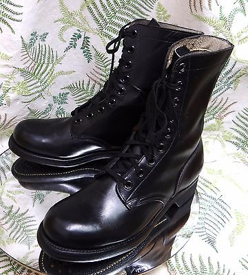 Panco 1963 Black Leather Vietnam Era Military Army Boots Shoes Us Mens Sz 9 R
