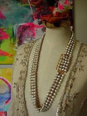 Ultra RARE Vintage CHRISTIAN DIOR Pearl Gold BELT Wardrobe Couture Accessory