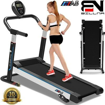 Billna A5 Foldable Manual Treadmill Slim Line Walking Cardio Running Machine*UK*