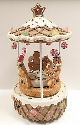 Yankee Candle Gingerbread Carousel Holiday Christmas Light Up Musical Motion