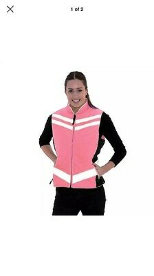 BNWT Equisafety Quilted Waistcoat - Hi Viz Reflective Horse Riding Gilet Pink XL