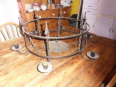 wrought iron 6 arm chandelier gothic candle medieval game of thrones vintage