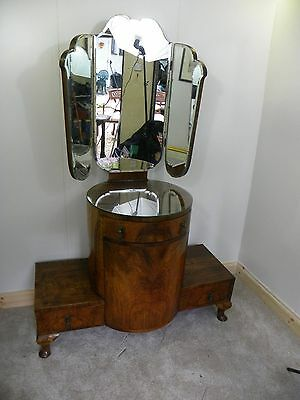 Gorgeous unusual walnut veneer Art Deco Dressing Table with triple mirror