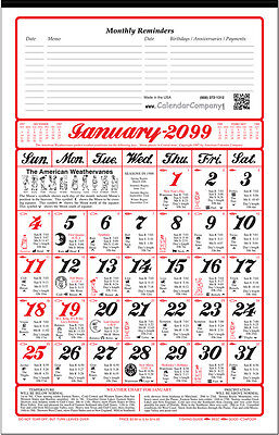 10 Pack-2018 ALMANAC CALENDAR sunrise, weather, fishing, planting by signs (A11)