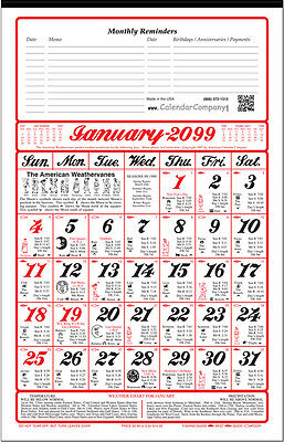 10 Pack-2019 ALMANAC CALENDAR sunrise, weather, fishing, planting by signs (A11)