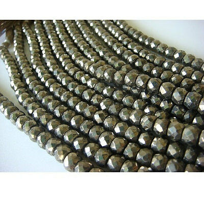 """8"""" Strand Pyrite Gemstone Beads, Faceted Pyrite Rondelles 7.5mm Beads"""