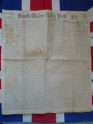 1903 Original South Wales Daily Post. Rare Collectible Newspaper