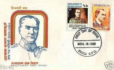 Bangladesh 1981 Fdc & Stamp Birth Centenary Of Kemal Ataturk